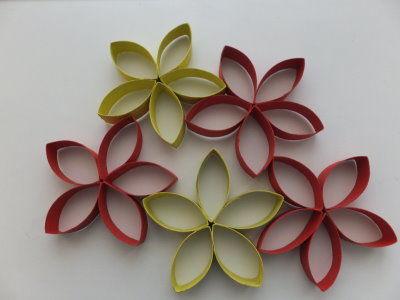 Blumen aus Klopapierrollen