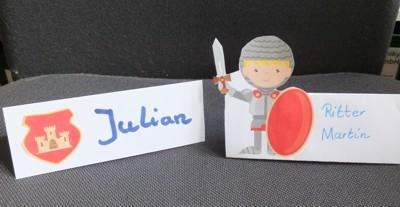 """Tischkarten für den Rittergeburtstag <br /><span class=""""second""""> Kinderparty</span>"""