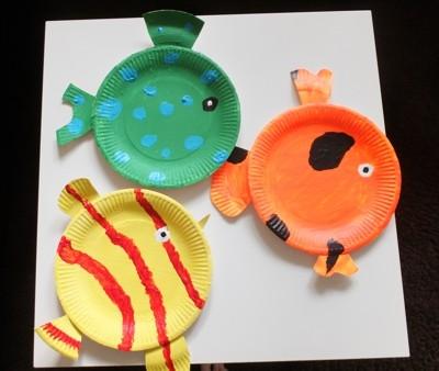Idee Mit Pappteller Bunte Fische Basteln Mit Kindern