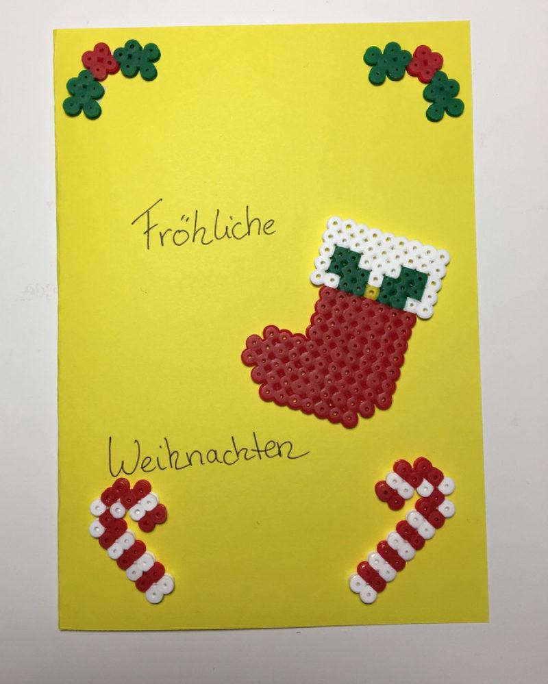 Mit b gelperlenbildern eine weihnachtskarte selber gestalten - Weihnachtskarten zum selbermachen ...