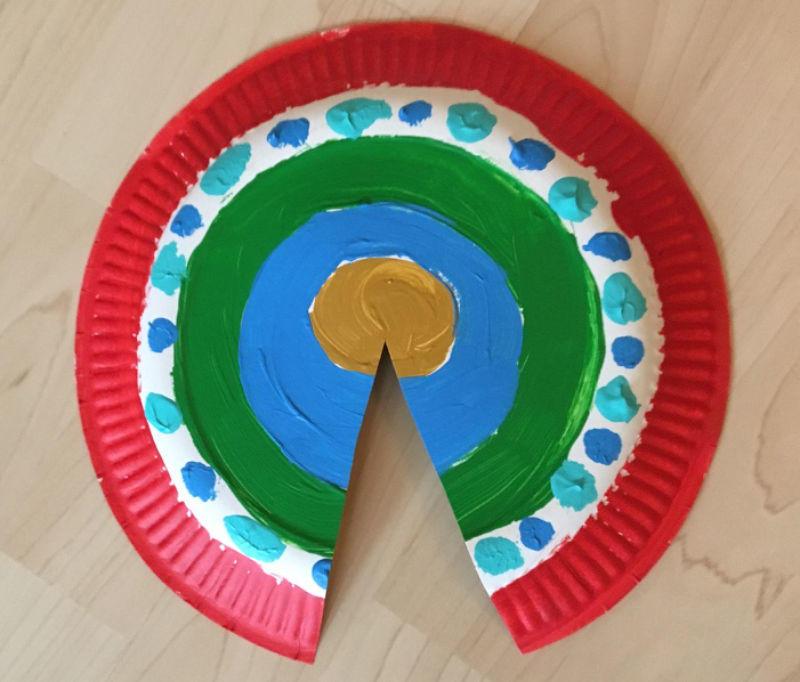 Faschingsbasteln einen faschingshut aus einem pappteller for Bunte pappteller