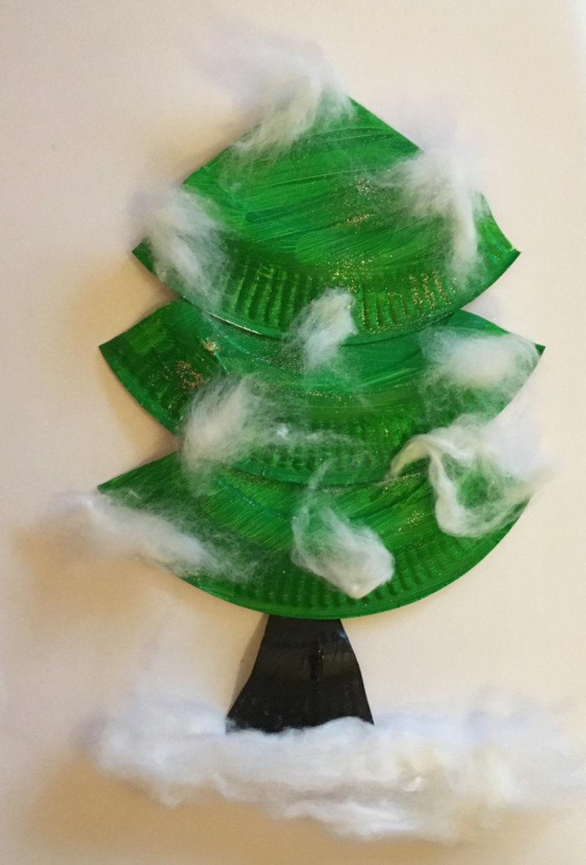 bastelidee f r kleinkinder ein tannenbaum aud papptellern. Black Bedroom Furniture Sets. Home Design Ideas