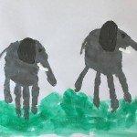 """Elefanten <br /><span class=""""second""""> Stempelbilder Handabdruck</span>"""