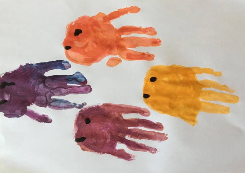 Fische Stempeln Mit Der Hand Unterwasserwelt Gestalten