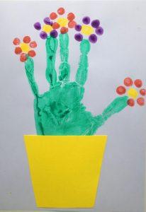 Handabdruckbild Blumentopf